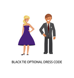 Black tie optional dress code vector