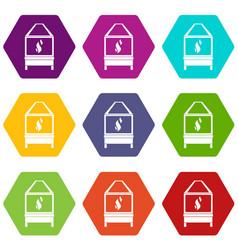 Blacksmith icon set color hexahedron vector