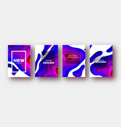 blue violet paper cut wave shapes layered curve vector image
