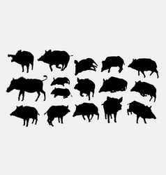 Boar action silhouette vector