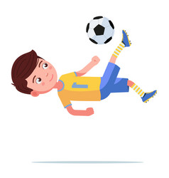 boy soccer player kicks ball in a flip jump vector image