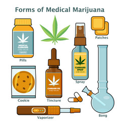 Cannabis marijuana form for medical use with text vector