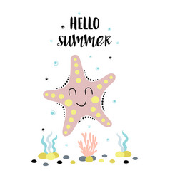 Card with cute starfish isolated on white hello vector