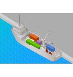 Cargo vessel isometric view flat vector image