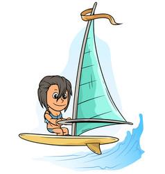 Cartoon girl character on yellow windsurfing board vector