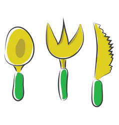 Cartoon noah spoon kife and fork or color vector