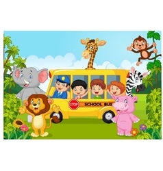 Cartoon school children on safari vector image