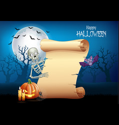 cartoon skeleton holding scroll banner vector image