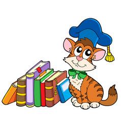 Cat teacher with books vector