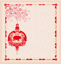 Chinese zodiac year pig - frame vector