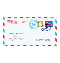 christmas envelope for letter to santa claus vector image