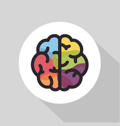 Colorful brain flat line icon brainstorming vector