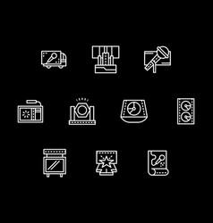 concert organization white line icons set vector image