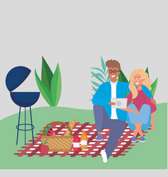 couple sitting on blanket picnic basket food grill vector image