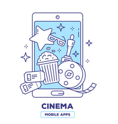 creative of mobile phone with popcorn movie vector image