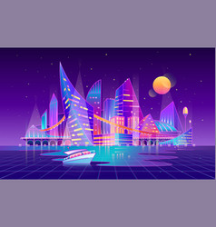 Cyberpunk landscape from future background vector