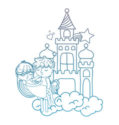 Degraded outline boy carrying girl in the castle vector