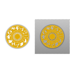 disk of the zodiac signs with the sun isolated vector image