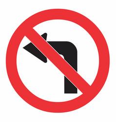 do not turn left traffic sign vector image