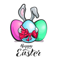 easter banny with egg vector image