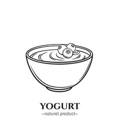 engraving yogurt icon vector image