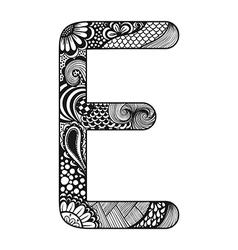 Entangle stylized alphabet lace letter e vector