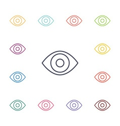 eye flat icons set vector image