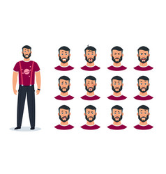 face expressions cartoon man character with set vector image