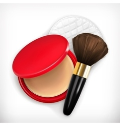 Face powder and brush vector