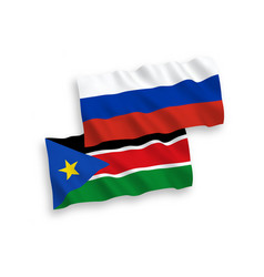 Flags republic south sudan and russia on a vector