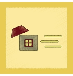 flat shading style icon wind destroys house vector image