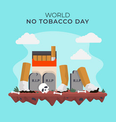 Flat world no tobacco day vector