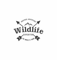 Forest mountain adventure black and white badge vector