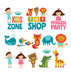 funny of kids and animals vector image vector image