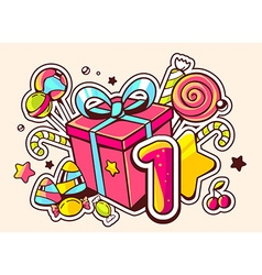 gift box and confection with number one o vector image