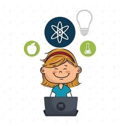 Girl atom laptop idea vector