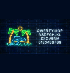 glowing neon summer sign with palms sun island vector image