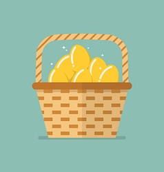 Golden eggs in wicker basket flat icon vector