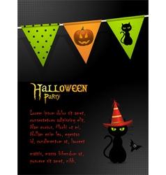 Halloween black cat party background vector