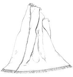 Hand drawn blanket sketch vector