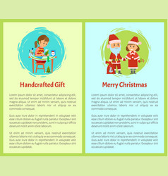 handcrafted gift merry christmas cartoon character vector image