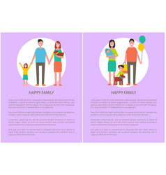 happy family icon in cartoon style banner vector image