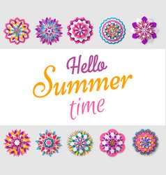 hello summer time decorative flora flowers poster vector image