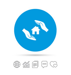 house insurance sign icon hands protect cover vector image