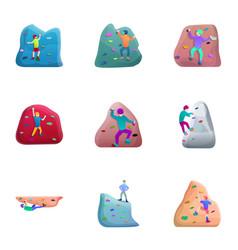 indoor climbing icon set cartoon style vector image
