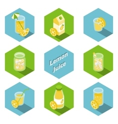 Isometric drinks and beverages icons in flat vector image