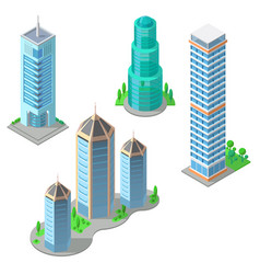 isometric modern buildings and skyscrapers vector image vector image