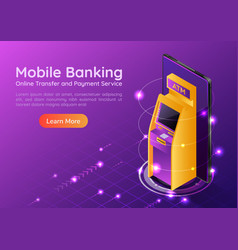 isometric web banner atm machine on smartphone vector image