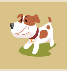 Jack russell puppy character smiling cute funny vector