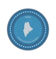 Label with map of maine Denim style vector image